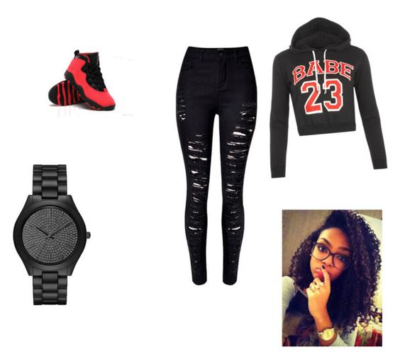 """How to wear jordans"" by keyta-12 ❤ liked on Polyvore featuring Michael Kors and WearAll"