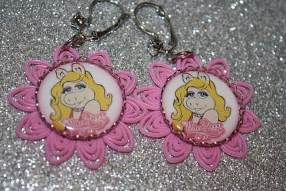 Miss Piggy Earrings Pretty in Pink Silver by NiftyVintageGirl, $10.00