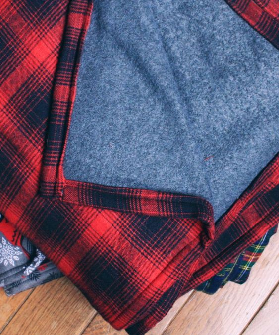 DIY flannel and fleece throw for men