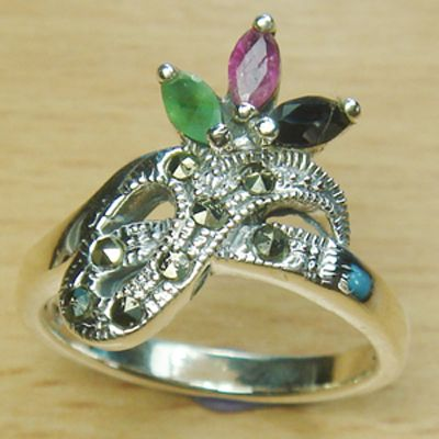 Three Stone Marquise Cut Genuine Ruby Emerald Sapphire 925 Sterling Silver Ring
