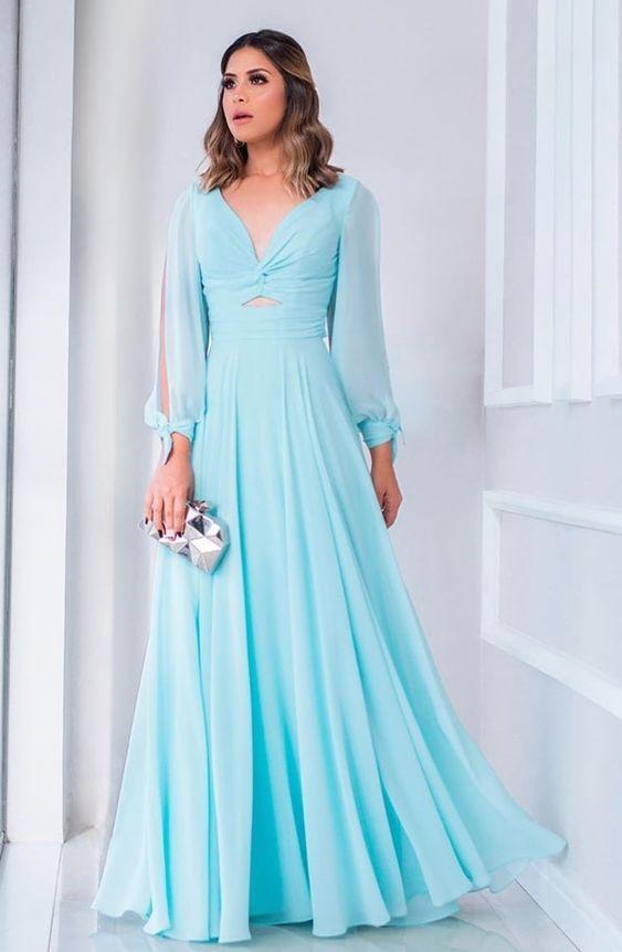 vestidos longos com manga gracioso