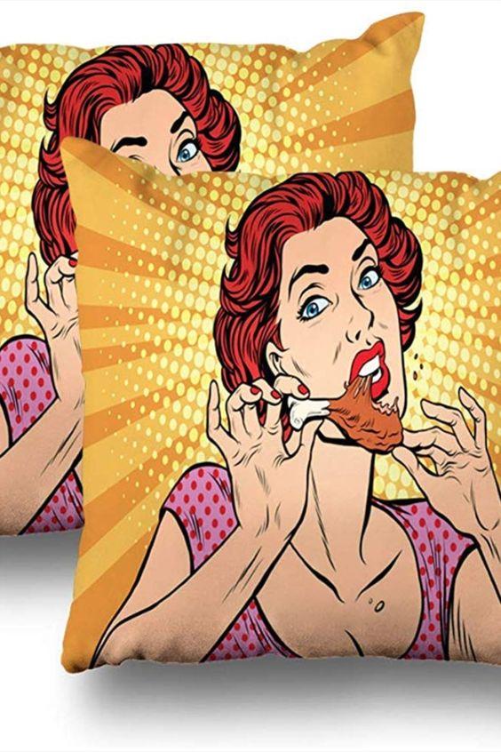 Annays Sofakissen Frau isst Hähnchenschenkel Sofakissen Frau isst Hähnchenschenkel Pop Art Retro Comic... * Pin enthält Werbelinks