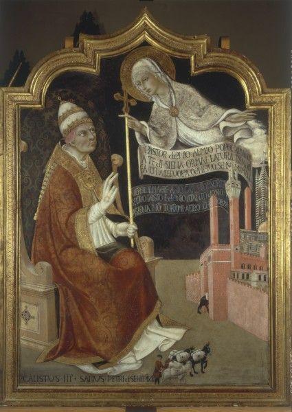 The Apparition of the Virgin to Pope Calixtus III, Alfons de Borja (1378-1458) By Sano di Pietro