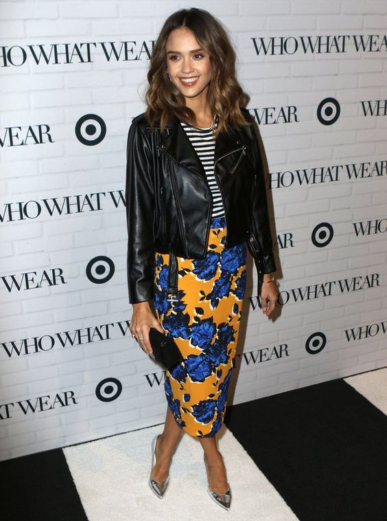 Jessica Alba struck a pose at the Who What Wear x Target launch party in designs from the collab, which included a striped tee, a bold floral pencil skirt, and a moto jacket. The finishing touches? A black clutch and metallic silver Brian Atwood pumps.