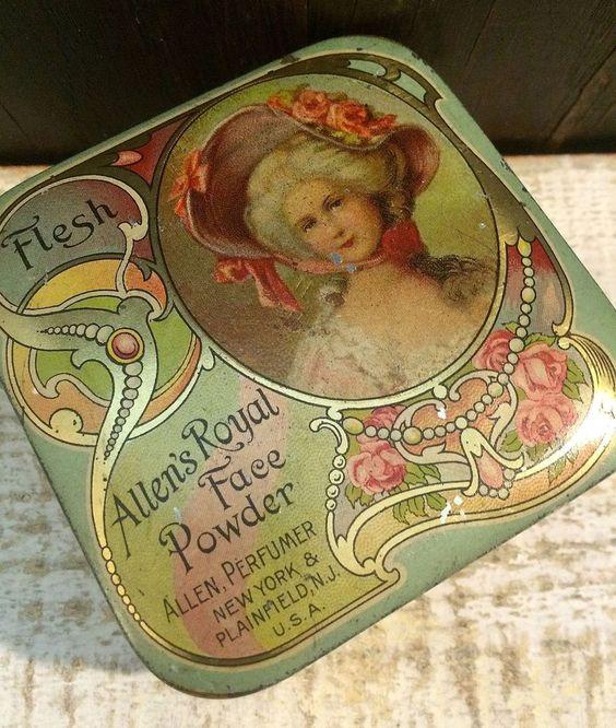Beautiful Small Tiny Allen's Royal Face Powder Tin Box Vintage c1910 Art Nouveau #AllensFacePowder