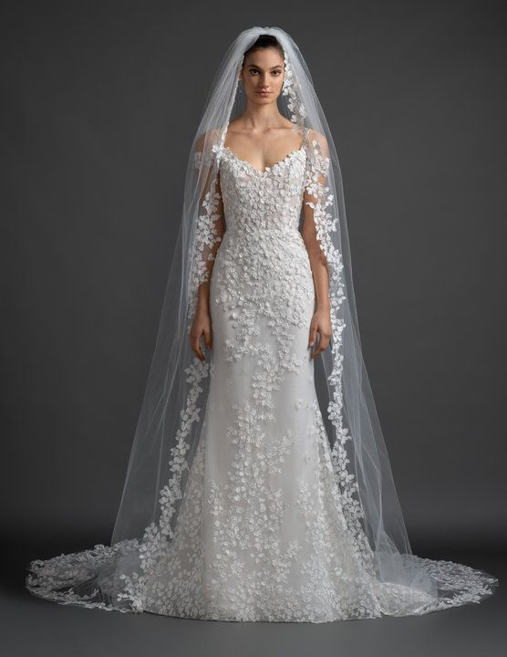 Style 3914 Olivia Lazaro Bridal Gown Ivory Petal Embroidered Tulle Over Sparkle Net And Chantilly Lazaro Wedding Dress Wedding Dresses Amazing Wedding Dress