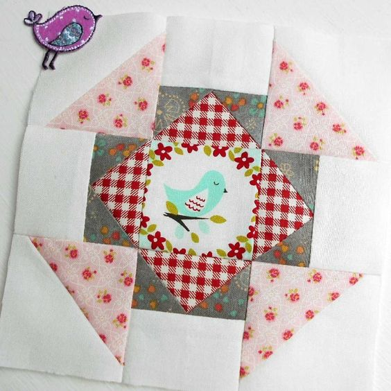 The Splendid Sampler block no. 37 - Dashing for Chocolate.  Churn dash with a little fussy-cutting.