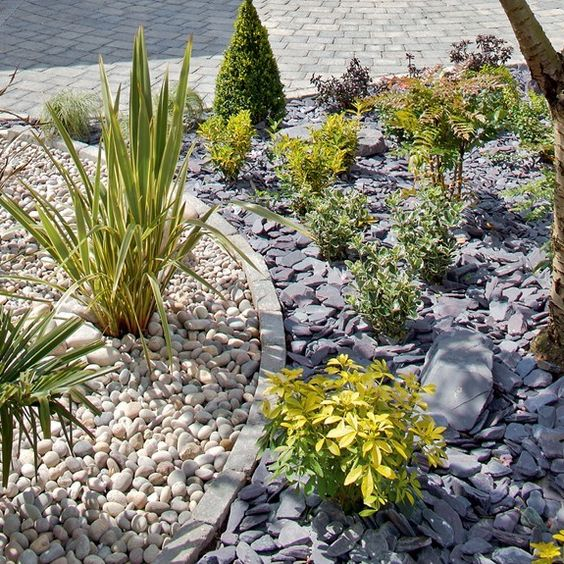 Atlantic pebbles and cobbles with plum slate chippings and for Blue slate garden designs