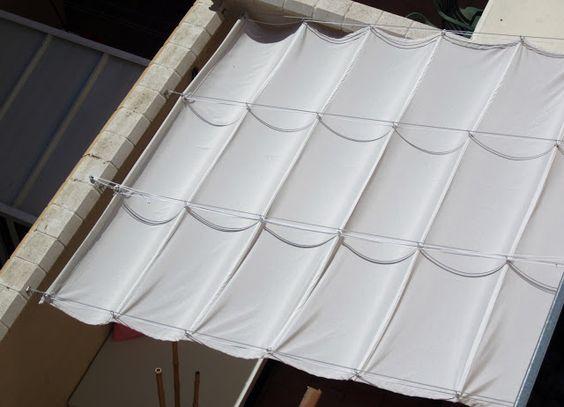 Toldo casero para la terraza balcon pinterest for Guias para toldos pergolas