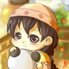 Adorable little Ying and her stuffed panda from Konohana village in Tale of Two Towns