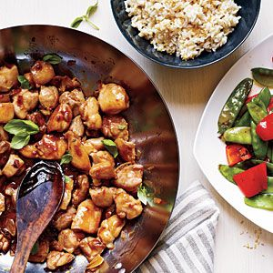 Under 40 Minutes: Spicy Basil Chicken with rice and snow peas