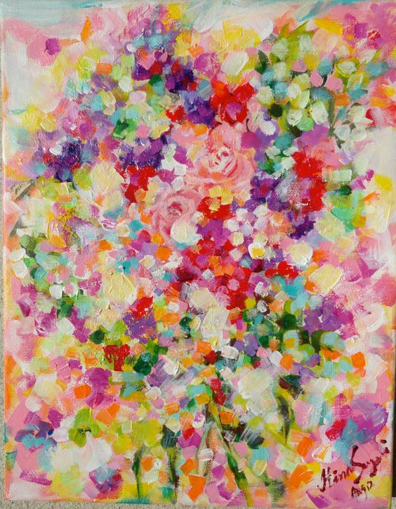 Original abstract roses flowers painting on canvas for How paint on canvas