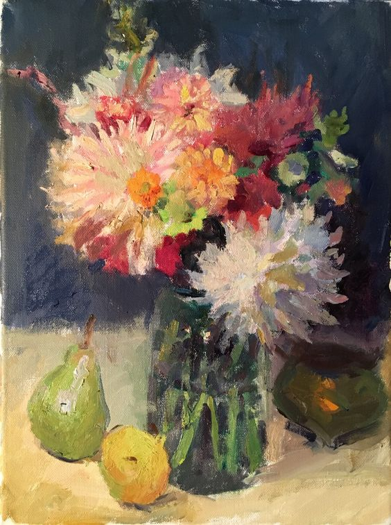 Susan Grisell. Dahlias and Pears