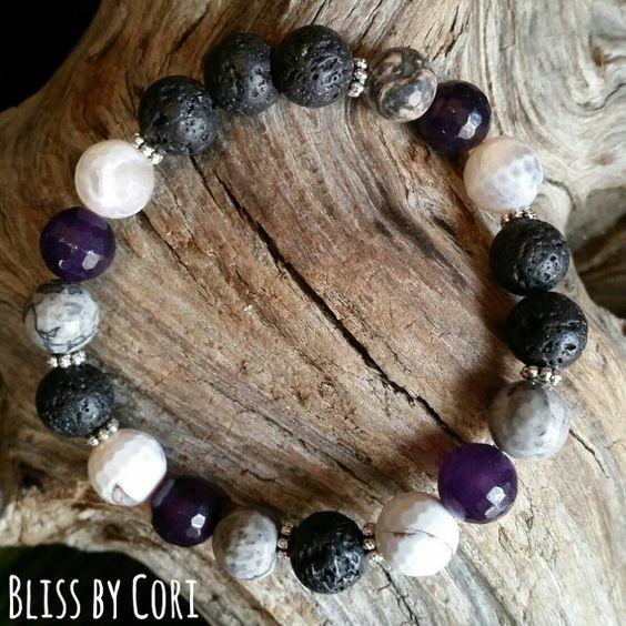 Faceted Agate & Lava Rock Essential Oil Stretch Bracelet BlissbyCori