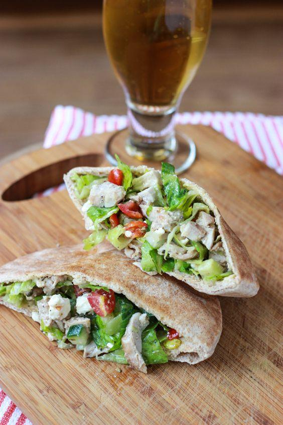 Greek Chicken Salad Pita Pockets   Recipe   Greek chicken ...