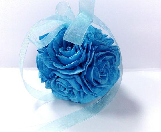 Papier crêpé pendaison de bleu aqua marine royale fleur ballon mariage pièce maîtresse pomander baisers boules demoiselle rose garçon bébé douche de mariage
