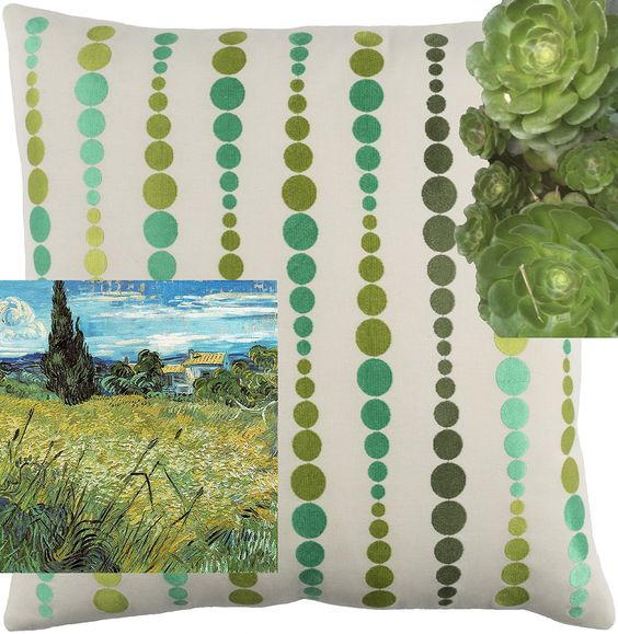 Color Inspiration for DEWDROPS (meadow) pillow, embroidered and woven on 100% cotton.
