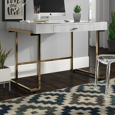 Ivy Bronx Mcmurry Modern Home Office Writing Glass Desk Modern Home Office Desk Modern Home Offices Wood Office Desk