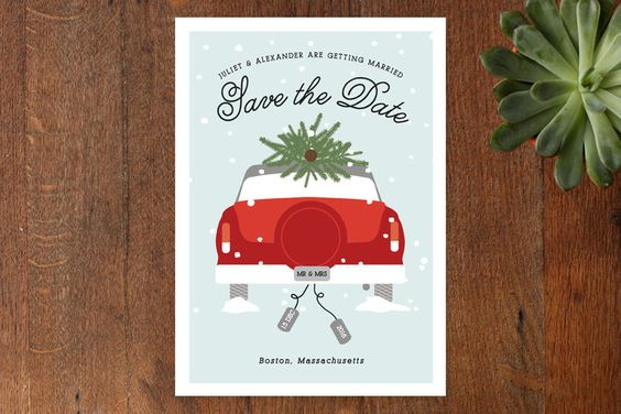 Wed in Winter Save the Date Cards by Bonjour Berry at minted.com