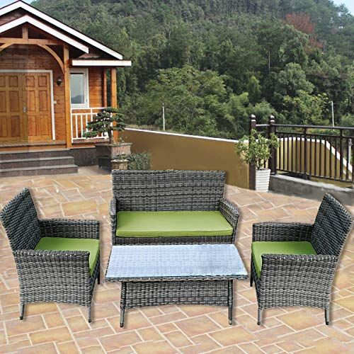 Htth 4 Pc Rattan Patio Furniture Set Garden Lawn Pool Backyard Outdoor Sofa Wicker Conversation Set With Weat Patio Outdoor Patio Chairs Rattan Patio Furniture