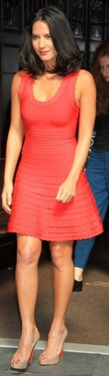 Olivia Munn: Dress – Herve Leger  Shoes – Christian Louboutin