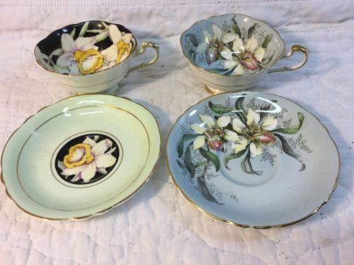 2-Vintage-Paragon-Bone-China-Made-England-Cup-Saucer-Sets-Art-Nouveau-Flowers