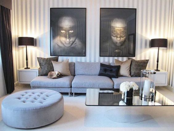 living room with unique wall paintings