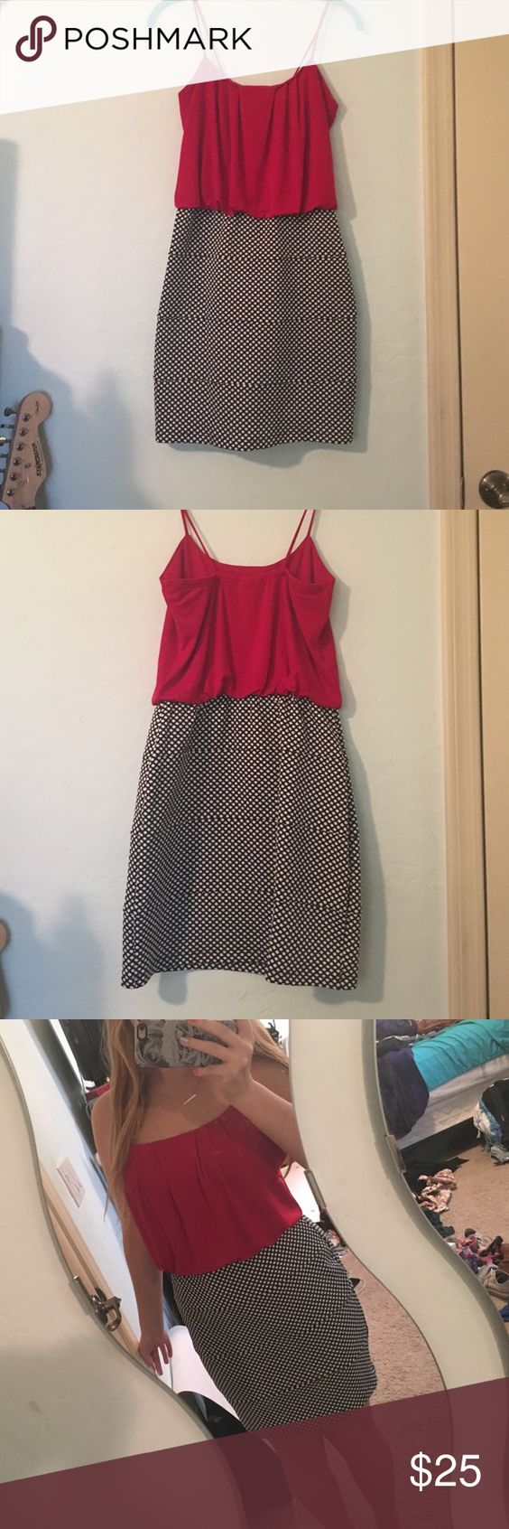 Red and polka dot pencil skirt dress Bought while shopping one day and haven't worn it. Super cute red flowy too attached to a black and white polka dot pencil skirt bottom. Spaghetti straps. No padding. Willing to negotiate! Dresses