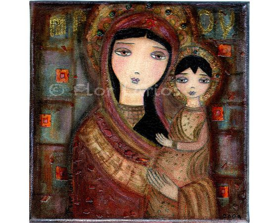 Mother of Tenderness   Folk Art 7 x 7 inches Print  by FlorLarios, $15.00