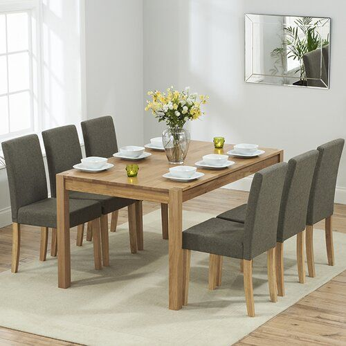 Horatio Dining Set With 6 Chairs Three Posts Upholstery Colour Brown In 2021 Solid Oak Dining Table Oak Dining Table Oak Dining Sets