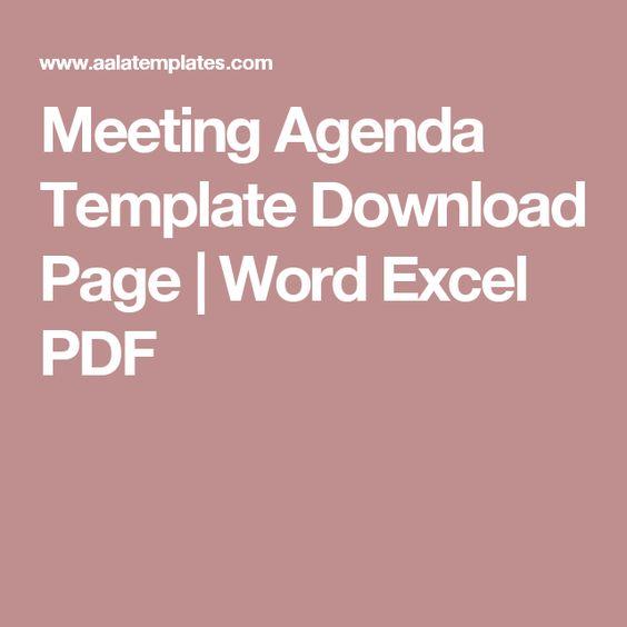 Meeting Agenda Template Download Page Word Excel PDF Virtual - meeting agenda word