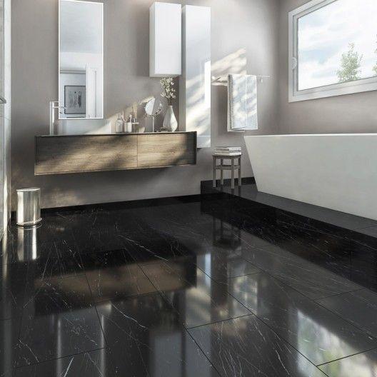 Carrelage Sol Et Mur Noir Effet Marbre Rimini L 30 X L 60 Cm