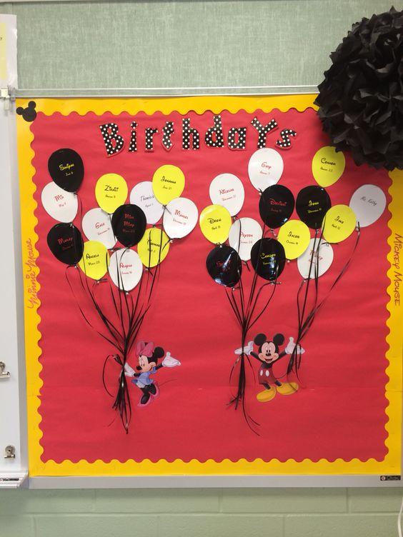 Classroom Door Decoration Ideas For Primary School ~ My mickey mouse themed birthday bulletin board classroom