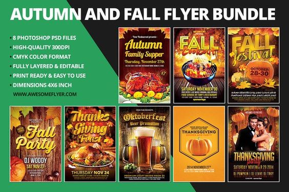 Autumn \ Fall Flyer Template Bundle Thanksgiving Invitations - fall flyer