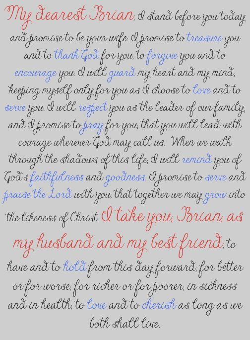 Our Wedding Vows: To Be a Godly Wife
