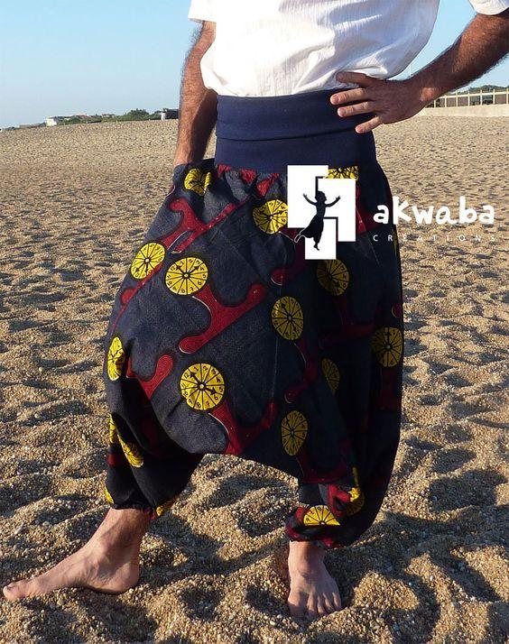 www.cewax.fr aime Sarouel wax horloge taille L Akwaba Créations : Pantalons, jeans, shorts par akwabacreations