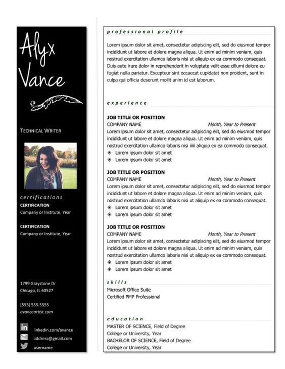 The Alyx Resume Template  Professional Resume by grasslanddesigns