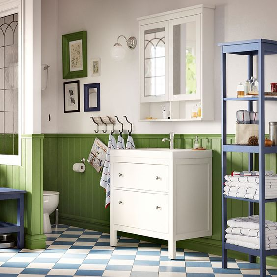 HEMNES/ODENSVIK white wash-stand with two drawers and GRANSKÄR ...