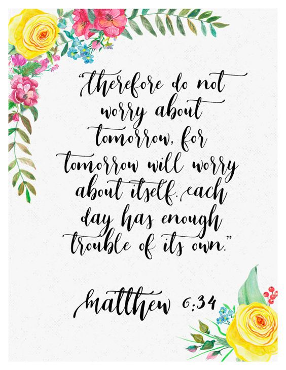 Matthew 6:34 Floral Print by McGuintyDesigns on Etsy