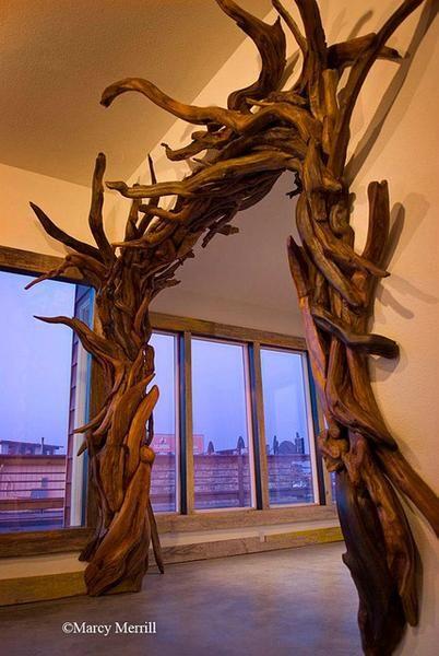 Entryway arch made of tree branches