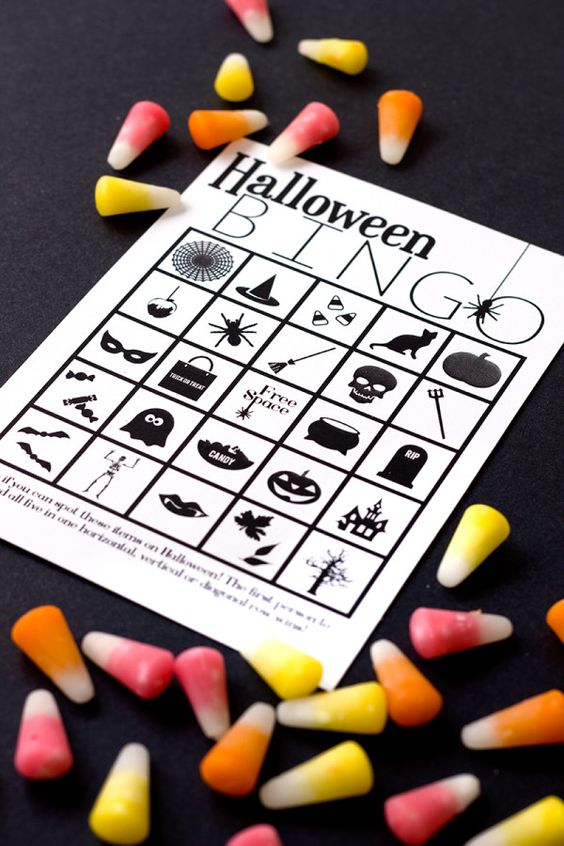 DIY Free Printable Halloween Bingo: Kiddos and adults alike will love this Halloween version of Bingo. Use candy as your markers, or if you're having a more adult party, you can always turn the whole thing into a drinking game.
