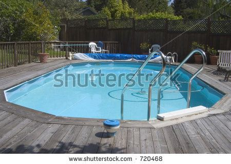 An Above Ground Doughboy Swimming Pool Surrounded By Decking Pool Decks Pinterest Pools