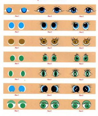 Tutorial photo only for 35 different painted eyes doll for Clay mural tutorial