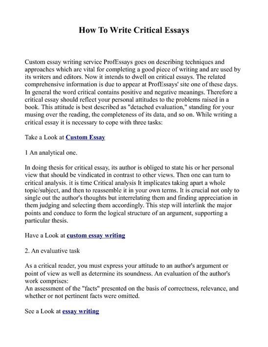 Critical Thinking Essay Exle How To Write A Critical Critical Essay Essay Writing Help Essay