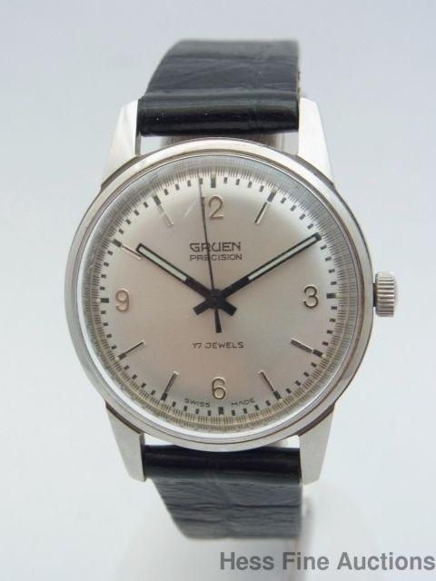 Genuine Gruen 17J Precision Mens Minty Vintage Stainless Steel Wrist Watch #Gruen