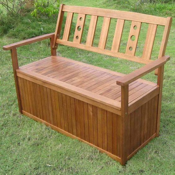 Details about Garden Storage Wooden Bench Box Patio Furniture