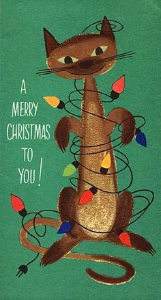 Merry Christmas  / Vintage postcard with Siamese cat entangled in Christmas lights #vintagechristmascard #siamesecat:
