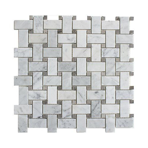 Carrara White Marble Mosaic Tile Cwmm1wea G P Chip Size 1 X2 Basketweave With Grey Dot 12 X12 X5 16 Polished Sample 3 X6 Home Living Home Impro Basket Weave Tile Marble Mosaic Basketweave Tile