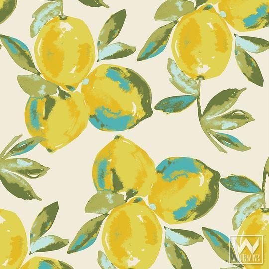 Lemons Bari J Removable Wallpaper In 2021 Removable Wallpaper Wallpaper Bedroom Feature Wall Yellow Wallpaper