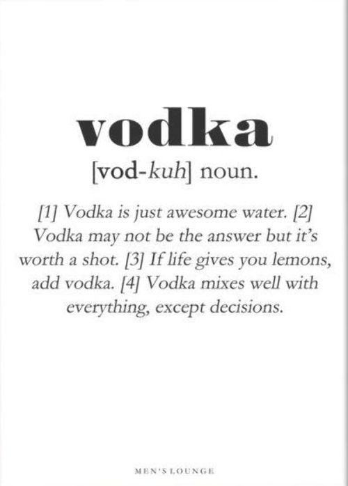 Vodka Definition Sjov Citat Plakat With Images Drinking Quotes Vodka Humor